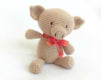 Amigurumi pig, handmade crochet stuffed animal toy. Toddler soft toy.