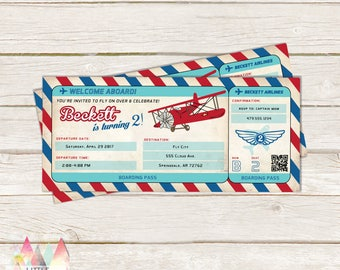 Items Similar To Vintage Airplane Birthday Invitation Airplane - Airplane birthday invitation template