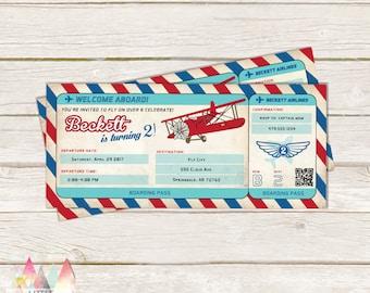 Airplane Birthday Invitation. Airplane Invitation. Vintage Airplane Birthday. Vintage Airplane. Airplane Ticket. Boarding Pass Invitation.