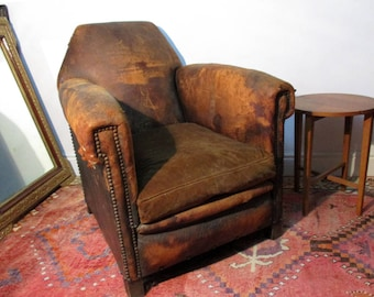 Vintage Leather Club Chair, French Leather Chair, Art Deco Leather Chair, Leather Armchair, Antique Leather Chair, Club Chair UK
