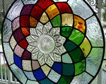 Stained Glass panel with old dish and 12 different colors