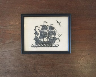 Vintage nautical ship cross stitch in frame