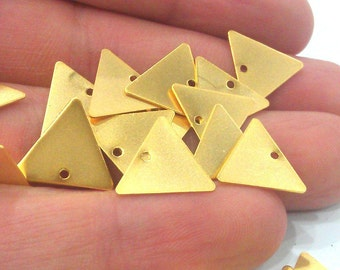 10 Pcs (15 mm) Triangle Charms , Gold Plated Brass G2224