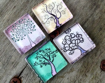 Tree magnets, Tree of life magnets, Glass magnets, Tree decor, Nature magnets, Kitchen magnets, Cubicle decor, Teacher gift, Gifts
