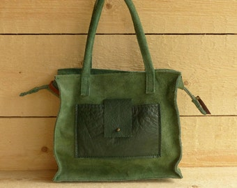 green leather bag / leather shoulderbag / green leather shoulder bag