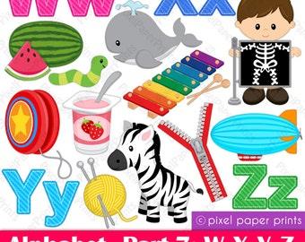 Alphabet Clipart  Part 7- ABC clip art - WXYZ - School clip art