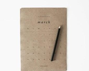 EOFYSALE Limited Edition Medium 2018 Calendar, A4 Calendar, Medium Calendar, Calendar, Portrait, Brown Paper, Kraft Paper