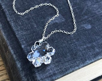 Swarovski crystal snowflake on sterling silver necklace. Holiday, winter, Christmas jewelry