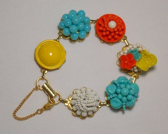 Cluster Earring Statement Bracelet in Turquoise, Orange, Yellow and White from Repurposed Reworked Mid-Century Jewelry