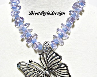 Butterfly Statement Necklace, Blue Butterfly Necklace, GPD Blue Butterfly Necklace Set, Blue Statement Necklace