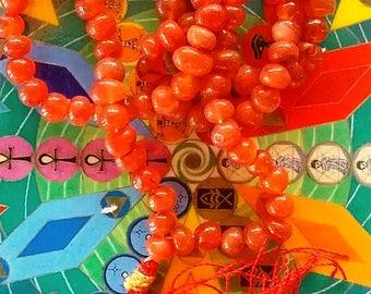 Handmade CARNELIAN Crystal JAPA MALA Necklace, 108 Prayer Beads, With Velvet Pouch
