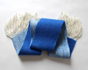 Blue-white felted scarf handmade merino wool yarn