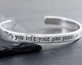 Pet Memorial Jewelry - Dog Memorial Bracelet - Personalized Engraved Bracelet - Cat Loss Gift - Pet Loss Bracelet - Paw Prints on my Heart