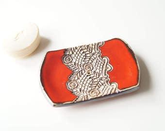 Red Soap Dish, Modern Soap Dish, Ceramic Soap Holder, Ceramic Bathroom Decor, Ceramics and Pottery, Handmade Soap Dish, Rectangle Soap Dish