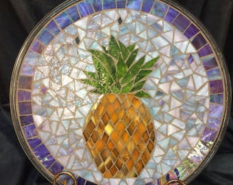 "14"" Stained Glass Mosaic Display  Plate--Hospitality Pinapple"
