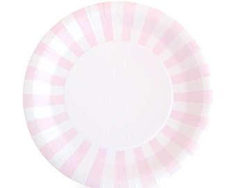 Plates | Pink Striped Paper Plates 9\  | Pink and White Striped Plates | Premium  sc 1 st  Etsy & Stripe paper plates | Etsy