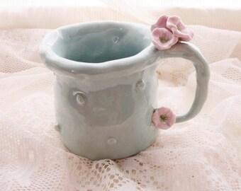 Holiday Gift, Christmas, Mug Custom color Flower, porcelain cup polka dot mug Pottery Mug, Porcelain Mug, Gift, Blue, Yellow, Pink Purple