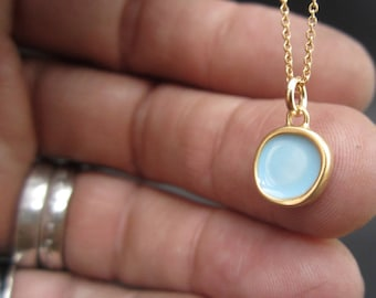 Reversible Enamel and Vermeil Necklace in Sky Blue and Periwinkle