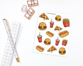Junk Food decorative planner stickers - 15 planner stickers, decorative stickers, pizza stickers, burger stickers, food stickers
