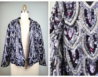 Art Deco Sequin Jacket // Vintage Inspired Black & Silver Sequined Jacket // Cropped Embellished Beaded Bolero Shrug US 10