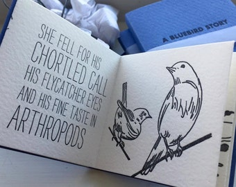 A Bluebird Story, tiny letterpress book