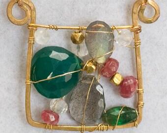 Bejeweled gem art necklace wearable art