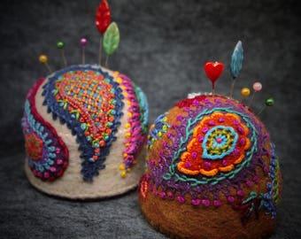 Made to order - Custom Made Boho Paisley Large Bottlecap Pincushion - your choice of colors!  free usa ship