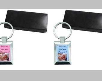 2 key-metal, name and design choice with gift box, ask godmother Godfather with photo