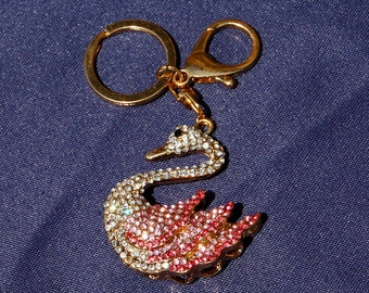 Swan Keychain with Pink Rhinestones and Crystals