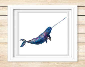 Narwhal Watercolor Print