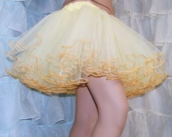 Pastel Yellow Piped Costume TuTu Crinoline Skirt MTCoffinz --- Adult All Sizes