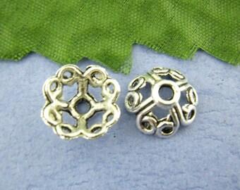 CP1 - Set of 10 bead caps-caps-Cap/Corolla silver 10mm