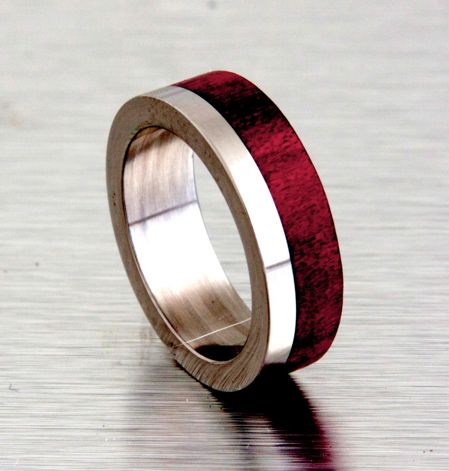 Mens Titanium Wood Wedding Bands: Mens Wedding Band With Wood Red Heart Tand Titanium Ring