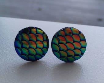 Dark green/purple rainbow petrol coloured dragon scale stud earrings