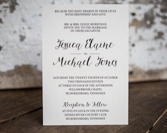 Formal Wedding Invitation, Calligraphy Wedding Invitation- Classic Wedding Suite : A7 Wedding Invitations