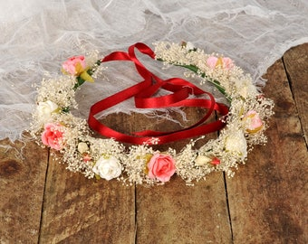 Ivory Pink Rose Rustic Babys Breath Flower Crown Floral Wedding Headpiece Bridal Head Wreath Halo Brides Headband Bridesmaid Boho Circlet