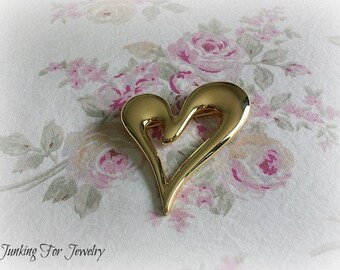 Premier Designs Free Form Heart Brooch Pin Goldtone
