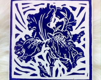 Iris Linocut Hand Printed on Recycled Card