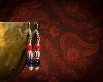 Chevron bead with red and blue glass beads from Bohemia's earrings