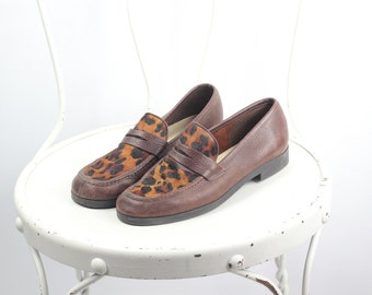 Brown Leather Leopard Print Loafers -- Sz 5.5