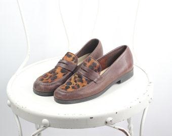 Braunes Leder Leopard Print Loafers--Sz 5.5
