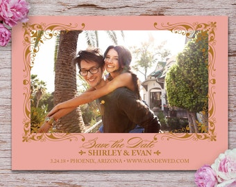 Beautiful Blush & Gold Save the Date Photo Card with Printed Envelopes