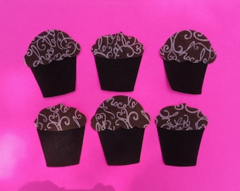 """Fusible Die Cut Fabric Applique Shapes.  Chocolate Cupcake with Chocolate/Pink Swirl Icing.  Set of 6.  3 1/2 X 4"""".  Fusible (Iron On)."""