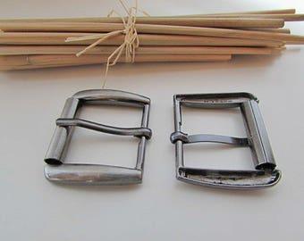 Rectangular belt buckle for strap of 2.3 cm - 3 x 3.5 cm-dark grey metal - 14.54
