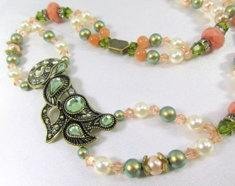 Vintage Style Antique Brass Necklace with Olive Green Crystals, Moonstone, Coral & Peach Swarovski Crystals