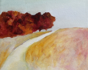 Pink and Yellow California Landscape original oil painting Print with Oak trees and path - Little Hill