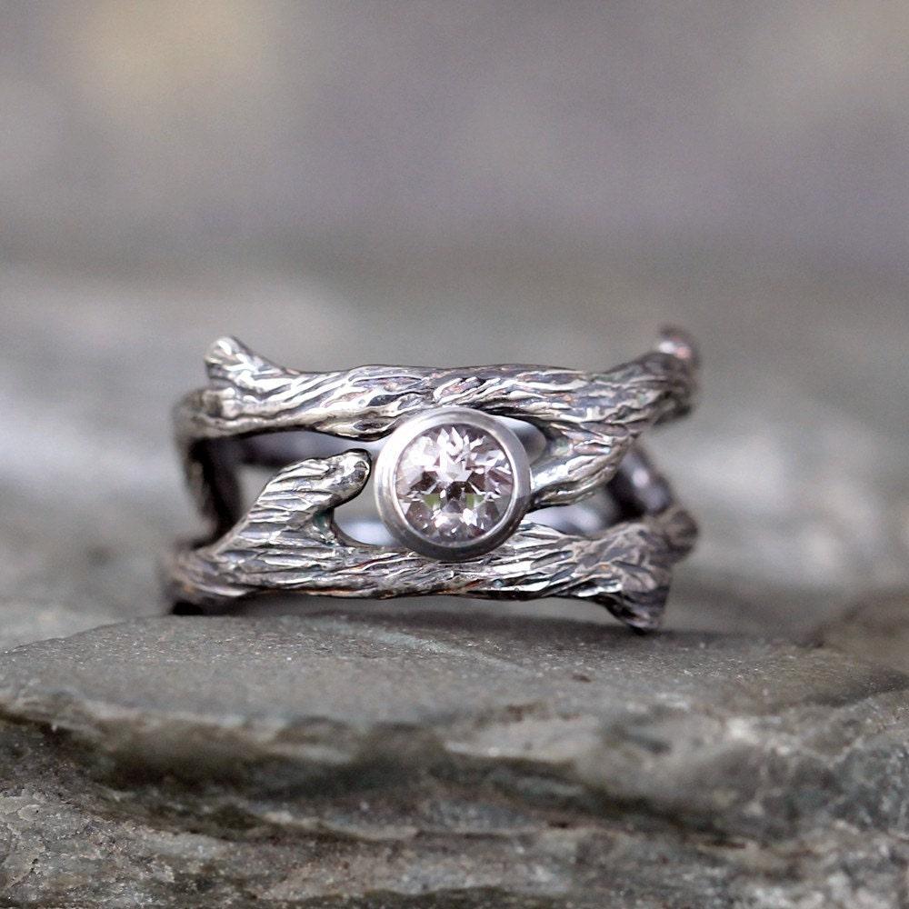 Twig Style Engagement Ring and Wedding Band Set White Topaz