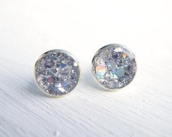 Large Silver Glitter Stud Earrings