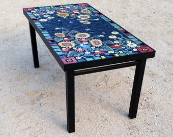 Delicieux Rectangle, Sunflower Blue Jay Floral Mosaic Tile Table. Individually  Handmade Ceramic Mosaic Art Tiles
