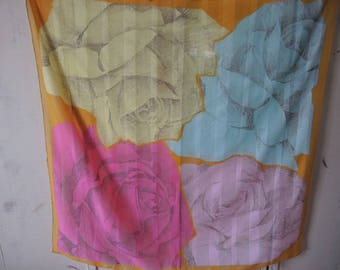 vintage 1980s polyester scarf abstract floral flowers slightly sheer washable made in Italy  31 x 31 inches